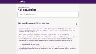 Natwest Customer Number Login