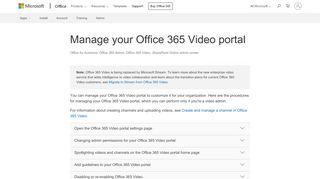 Office 365 Video Portal