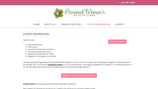 Personal Women's Healthcare Patient Portal