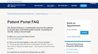 Planned Parenthood Columbia Willamette Patient Portal
