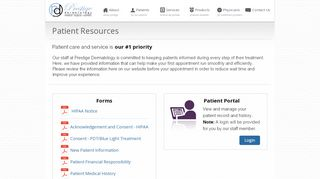 Prestige Dermatology Patient Portal