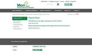 Preston Memorial Patient Portal