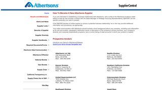 Safeway Vendor Portal
