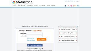Sparkpeople Login Page