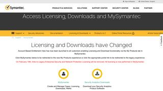 Symantec Support Portal