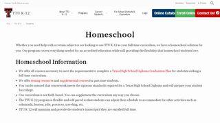 Texas Tech Homeschool Course Portal
