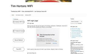 Tim Hortons Wifi Login Page