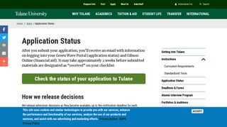 Tulane Application Portal