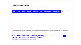 Uniuyo Portal Admission List