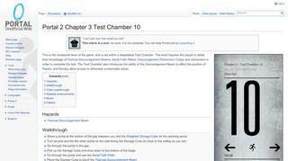 Portal 2 Test Chamber 10 70 Seconds