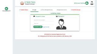 Uniuyo Admission Portal